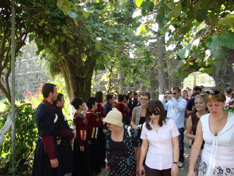 Meeting host families at Gonio Fortress-greeting with Georgian polyphonic songs