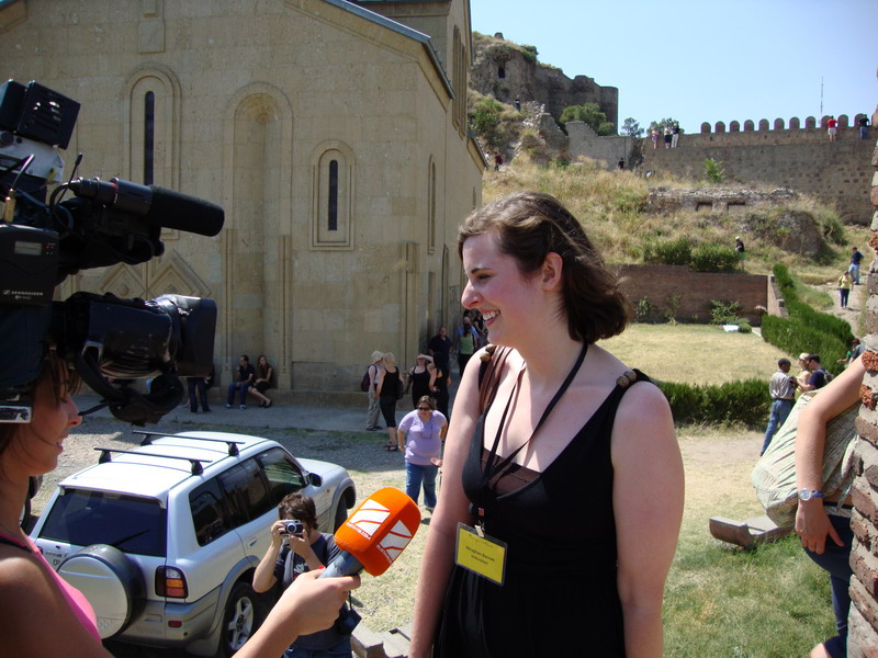 TLG volunteer giving an interview to Georgian TV2